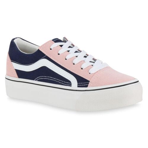 Damen Plateau Sneaker Turnschuhe Schnürer Basic Plateauschuhe 824542 Schuhe