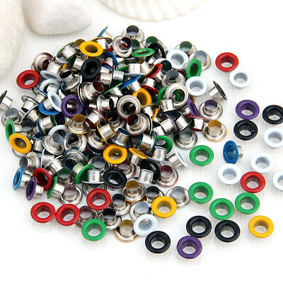 200 Pieces Multicolor Metal Eyelet Grommet for Leather Craft 0.35""