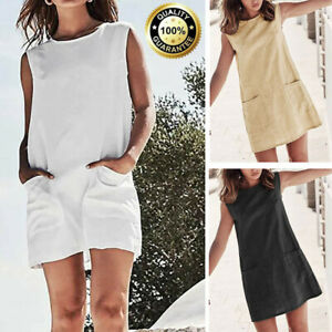 663f9c5d774 Image is loading New-Womens-Casual-Loose-Sleeveless-Summer-Solid-Linen-