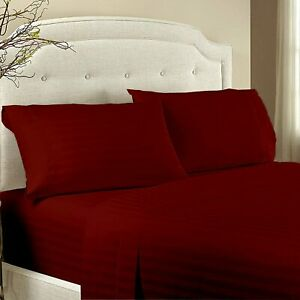 4PCs//6PCs Sheet Set Twin//Full//Queen//King Egyptian Cotton 1000 TC Red Solid