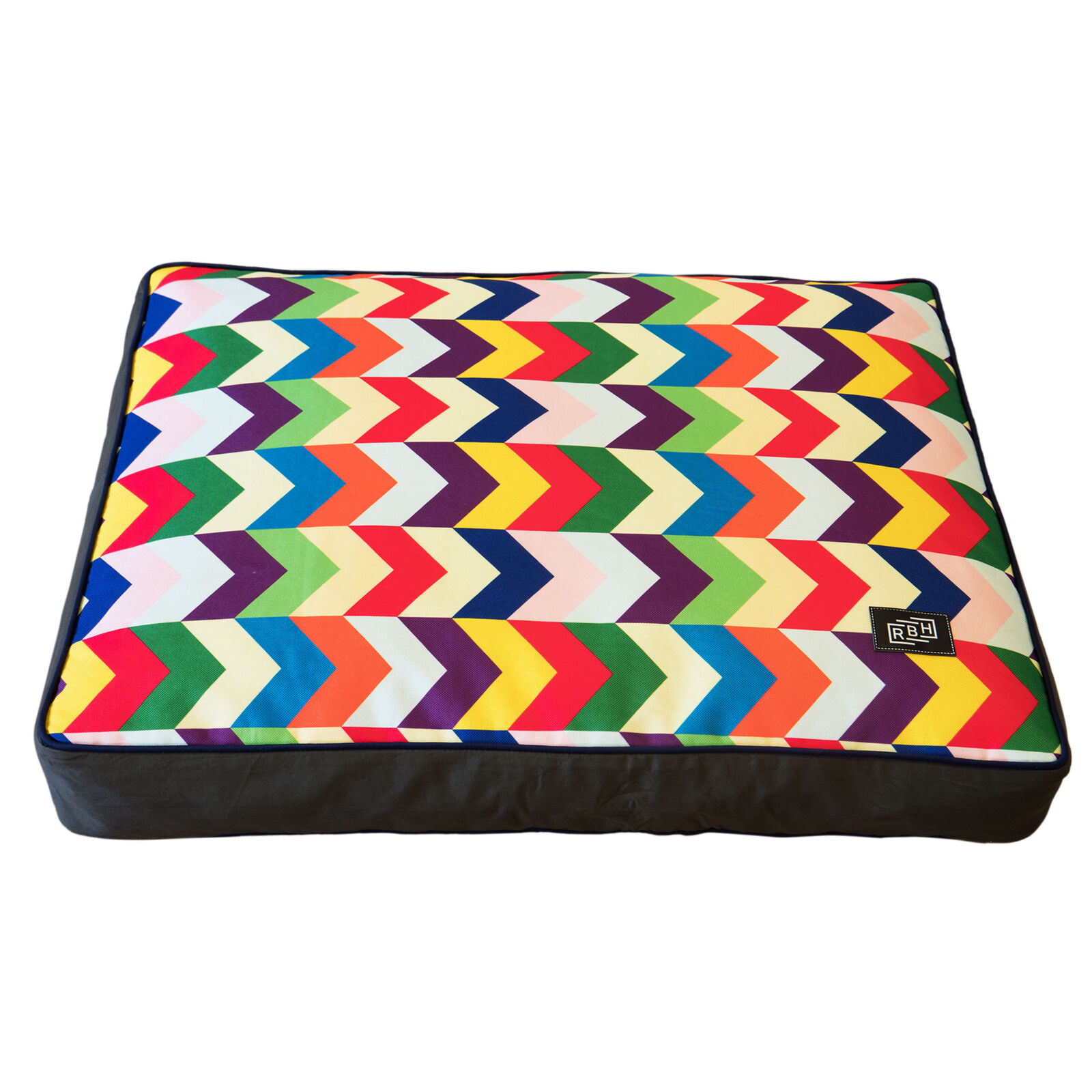 Raised by humans Designer colourful modern striped mattress dog pet bed
