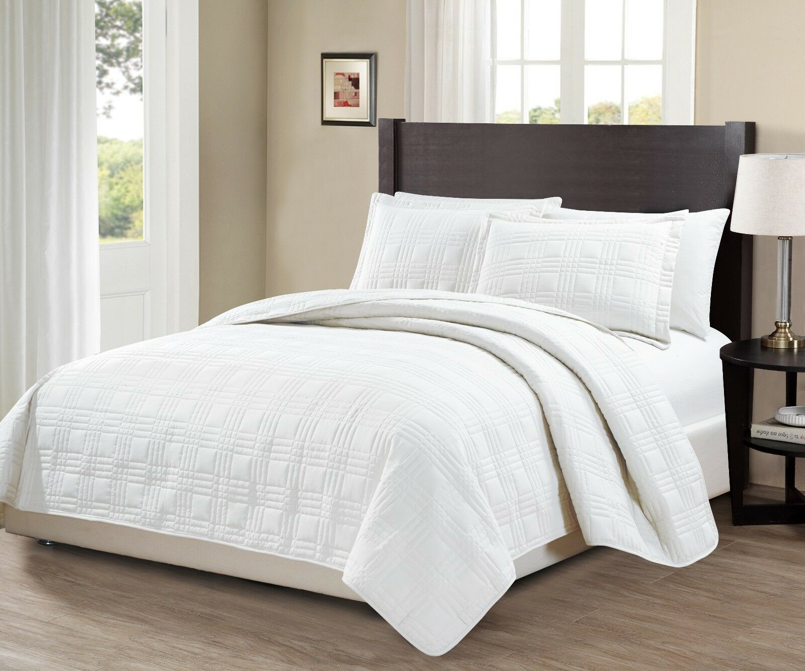Fancy Linen 3pc Oversize Geo Quilted Embroidery Solid White Bedspread New