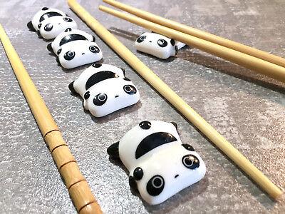 Pratico Chopstick Set Bamboo Panda Bacchette Bastoncini Posate Ripiano Ceramica Bambù-
