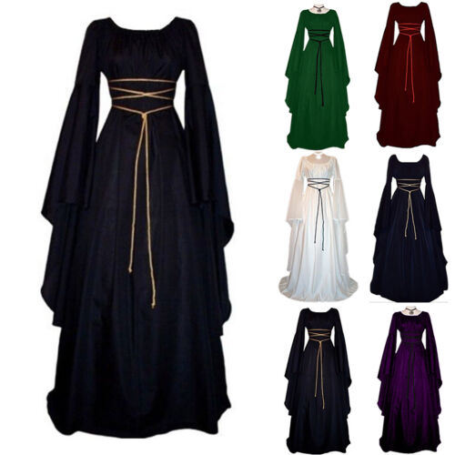 Womens Renaissance Medieval Party Long Maxi Dress Gothic Witch Costume Cosplay