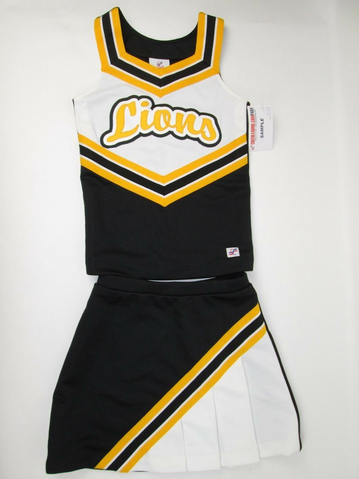 NEW LIONS Cheerleader Uniform Outfit Costume Youth Teen 32  Top Elastic Skirt