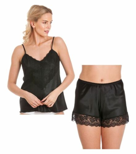 Ladies satin cami set camisole french knickers shorts lace retro plus sizes