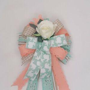 Easter Bunny Door Hanger with Bow; Mint green Berry pink