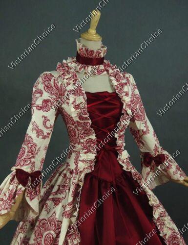 Victorian Renaissance Antique Floral Prom Dress Ball Gown Reenactment Gothic 138