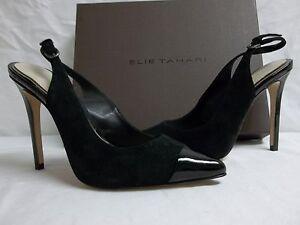 Elie-Tahari-EU-35-5-US-5-5-Alise-Black-Leather-Slingbacks-Heels-New-Womens-Shoes