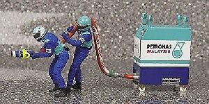 Pit stop stop stop limpio Petronas 2002 refueller Crew figure set 1 43 Model Minichamps b67875