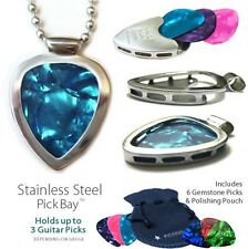 PICKBAY GUITAR PICK Holder NECKLACE Gem-tones Set Color Therapy Positive Energy!