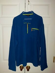 Men's Blue and Green Orvis Trout Bum Waffle Fleece 1/4 Zip Up Pullover Size XXL