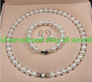 10mm-White-Sea-South-Shell-Pearl-Necklace-18-034-Bracelet-Earring-Set-AAA