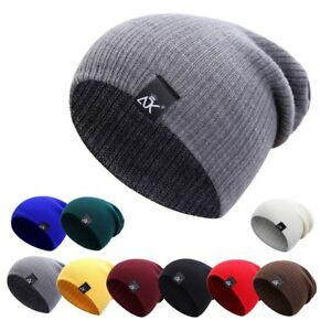 Mens-Womens-Wool-Knit-Baggy-Beanie-Winter-Hat-Ski-Slouchy-Chic-Knitted-Cap-UK