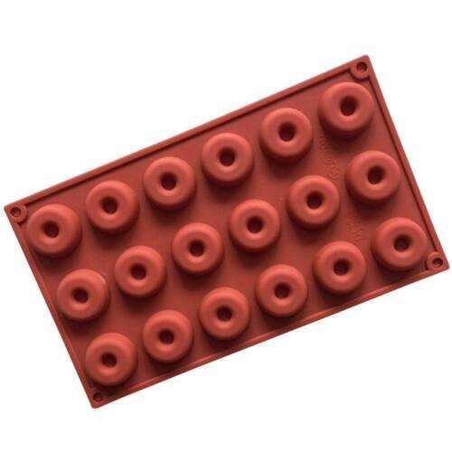 18 Cavité desserts Mini Chocolate Baking Pan de forme ronde silicone Donut Mold