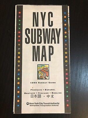 New York City Subway Map Espanol.1992 Nyc New York City Subway Map Pocket Mta Guide Nycta Multi Lingual New Ebay