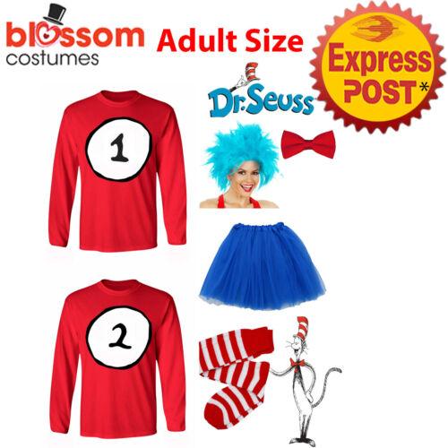 K891 Adult Womens Thing 1 Thing 2 Top Tutu Skirt Wig Costume Book Week Dr Seuss