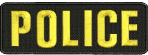 POLICE embroidery patches 3X9 hook on back gold