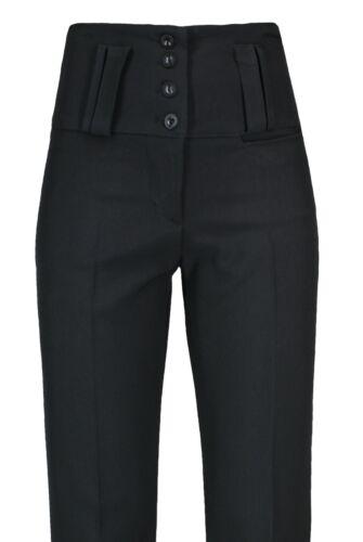 Onorevoli Ragazze Nero Vita Alta Pantaloni qualità scuola lavoro Gamba Dritta Pants.