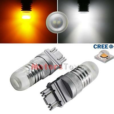 2x High Power 3157 Switchback LED Bulbs White/Amber For Front Turn Signal Lights