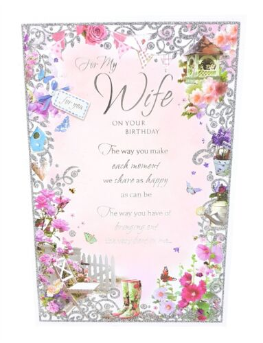 WIFE ON YOUR BIRTHDAY GREETINGS CARD PINK SILVER GLITTER GARDEN 23CM X 15CM