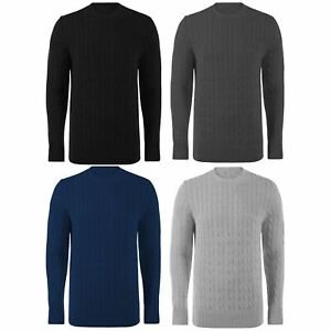 Mens-Cable-Knit-Jumper-Sweater-Weave-Knitted-Long-Sleeve-Crew-Neck-Warm-Winter