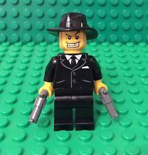 Lego New Mafia Man / Mob Boss Criminal Mini Figure W/ Black Suit / X2 Sort Gun