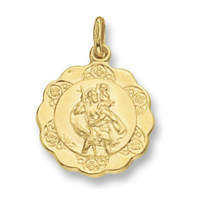 375 9CT GOLD ST CHRISTOPHER 16MM ROUND SATIN ST CHRIS PENDANT MEDALLION  CHARM