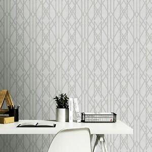 Portefeuille-Lineaire-Papier-Peint-Geometrique-Gris-Argent-Rasch-215113-Neuf
