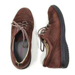 reebok leather sneakers brown lace up comfort shoes womens