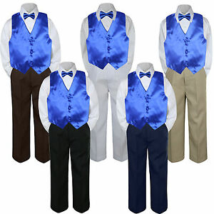 b0abefeaf8eb 4pc Boys Baby Toddler Kids Royal Blue Vest Bow Tie Formal Set Suit S ...