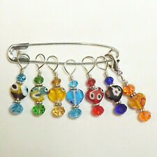 CROCHET // KNITTING ACCESSORIES STITCH MARKERS HANDCRAFTED SET OF 7    #170