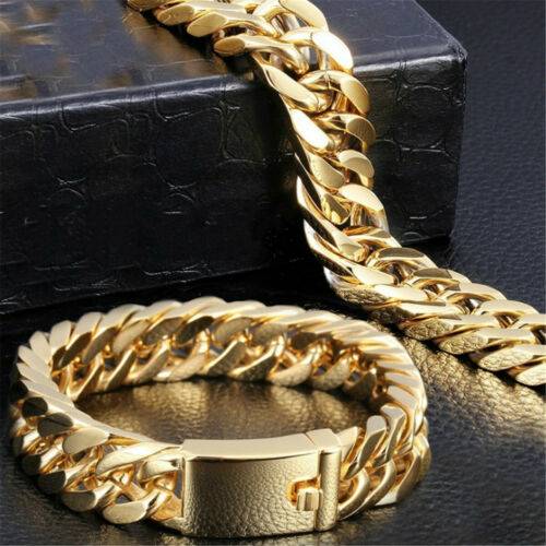 Fashion Gold Plated Mens Jewelry Stainless Steel Curb Cuban Chain Bracelet