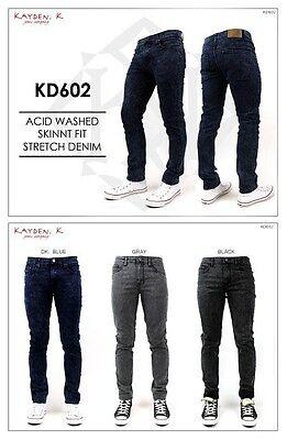 KAYDEN.K Men's Acid Washed SKINNY FIT Stretch Jeans Pants Size 28 - 36
