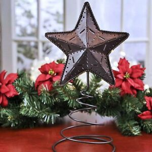 primitive americana rustic barn star tree topper 15 x 8 with pierced designs ebay. Black Bedroom Furniture Sets. Home Design Ideas