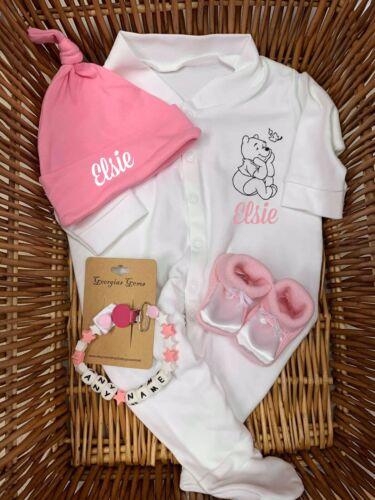Sleep suits//babygrow booties hat silicone dummy clip set girl boy pink blue