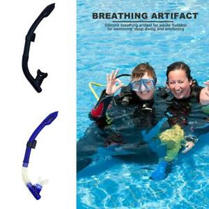 Silicone-Mouthpiece-Swimming-Diving-Snorkel-Full-Dry-Air-Breathing-Tube-w