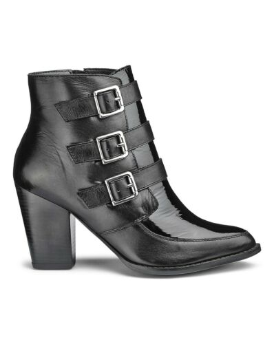 ref 105 SOLE DIVA LADIES BUCKLE ANKLE BOOTS BLACK EEE FITTING NEW IN BOX