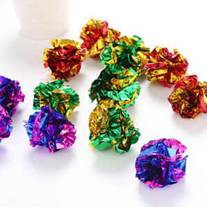 Colorful-12x-Mylar-Crinkle-Foil-Balls-Pet-Cat-Kitten-Sound-Play-Toy-Paper-Rustle