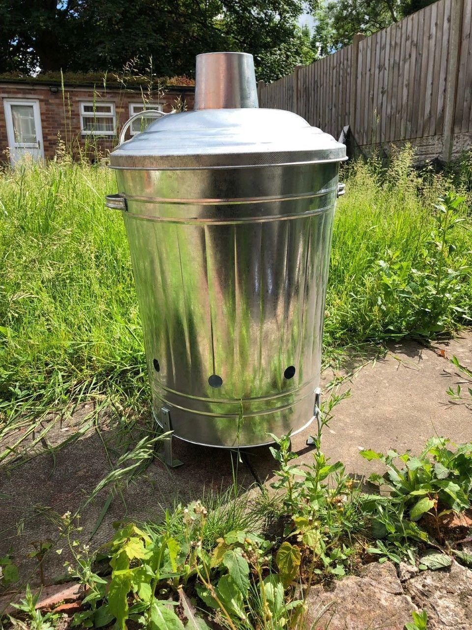 Garden incinerator 55L Bin Galvanised waste Burning Rubbish PAPER FIRE BIN