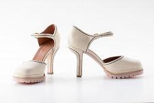 MARNI -NEW Ivory Leather Platforms Pumps High Heels Ankle Strap Sz: 6.5 ( EU 37)