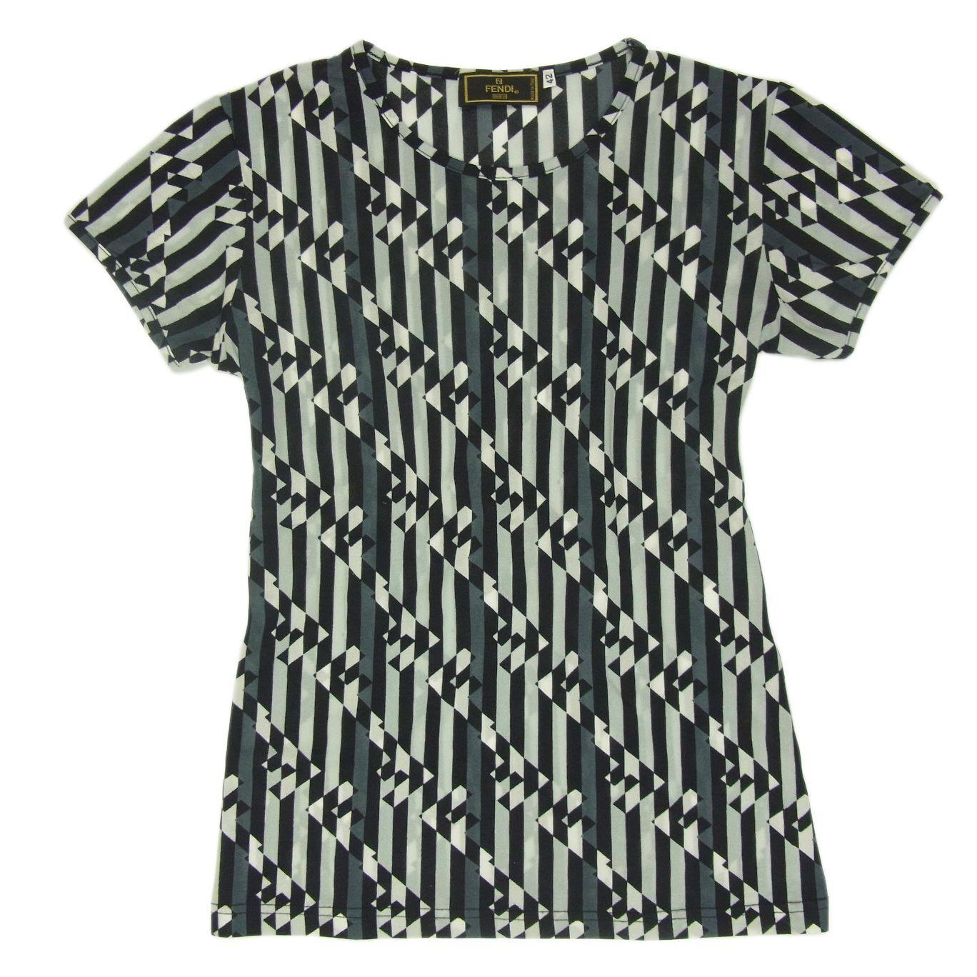 Auth FENDI Logos Striped Pattern Stretchable T Shirt Top Sz 42 US M F S 2118