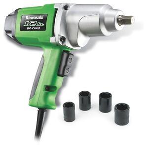 "Kawasaki 1/2"" 7.5 amp Metal Heavy Duty Electric Impact Wrench Kit Set - 841426"