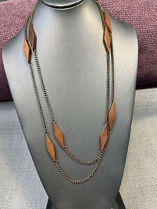 Vintage-1960-s-s-54-Brown-Wood-Link-Boho-Beaded-Long-Sweater-Necklace