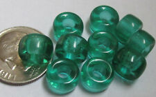 60 Czech Glass Translucent Green Foiled-Interior Pony Beads 9mm x 6mm