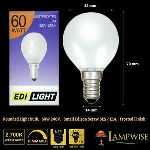 Details About 60 Watt Edi Light Opal Round Bulb Ses E14 Small Edison