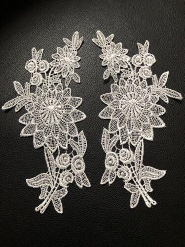 Off White Flower Leaf Motif 2 Pcs Applique Sewing Craft Venise Lace Trim Buy4G1F