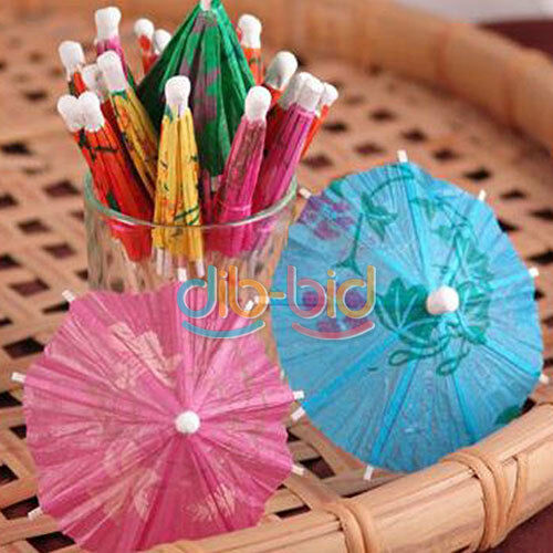 46Pcs Paper Cocktail Parasols Umbrellas Party Wedding Supplies Luau Drink SS