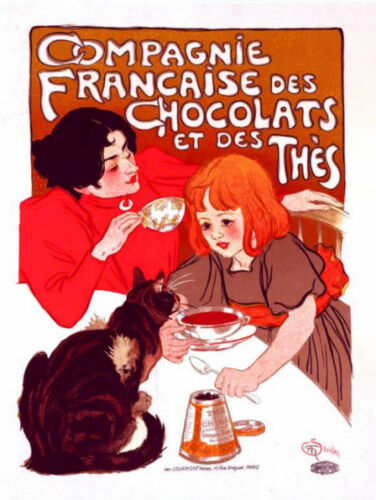 French Chocolate Paris Ad Poster Counted Cross Stitch Pattern Chart Graph