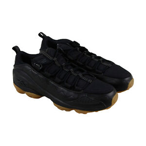 Reebok-Dmx-Run-10-Gomme-pour-Homme-en-Cuir-Noir-Low-Top-Lace-Up-Sneakers-Shoes